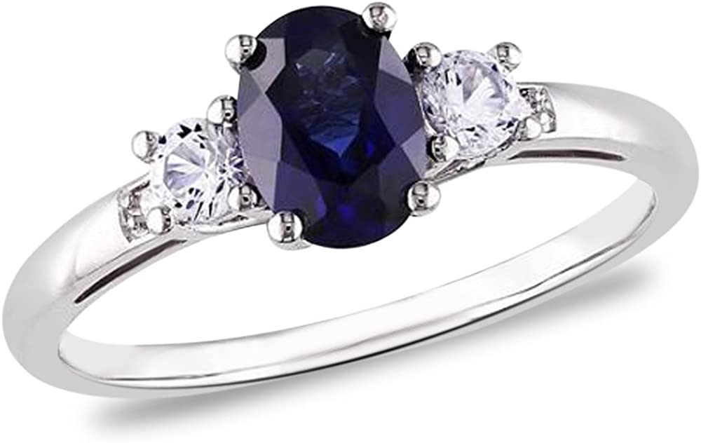 1.50 CTW Genuine Sapphire and Diamond Ring in Sterling Silver