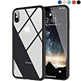 Clear Hybrid iPhone X Case by Ztotop, Thin Tempered Glass Back Cover and Soft Silicone Rubber Bumper Frame Support Wireless Charging for Apple iPhone X/iPhone 10 (2017) - Matte Black Frame
