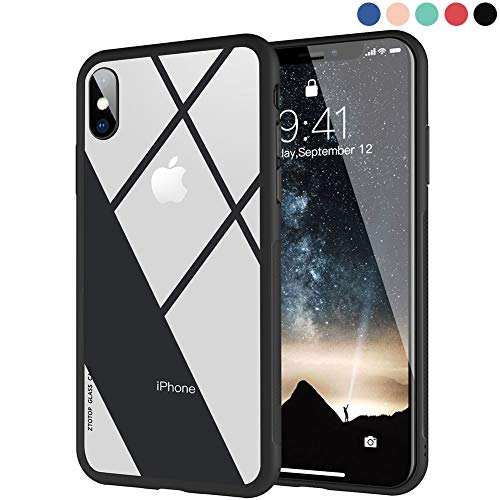 Clear Hybrid iPhone X Case by Ztotop, Thin Tempered Glass Back Cover and Soft Silicone Rubber Bumper Frame Support Wireless Charging for Apple iPhone X/iPhone 10 (2017) - Matte Black Frame by Ztotop