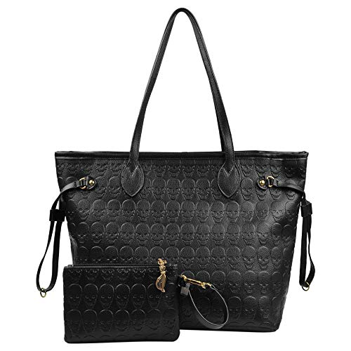Women Devil Skull Handbags Pu Leather Top-Handle Satchel Shopping Bag with Clutch Purse