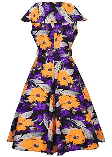 Ruiyige Mujeres Vintage Cap manga de impresión floral con cinturón vestido de verano vestido largo