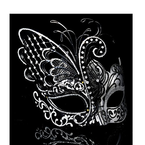 Mask Silver Masquerade ([Flying Butterfly] Silver/Black Face with [Sparkling Wing] Laser Cut Metal Venetian Women Mask For Masquerade / Party / Ball Prom / Mardi Gras / Wedding / Wall)