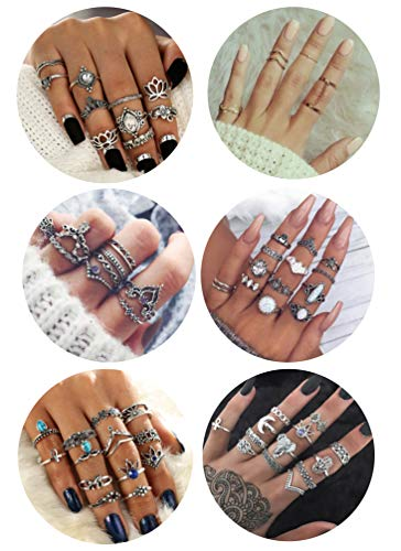 (FIBO STEEL 63 Pcs Vintage Knuckle Rings for Women Girls Stackable Midi Finger Ring Set)