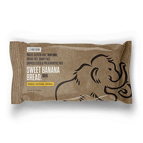 Paleo Bread, Sweet Banana, Snack Size, 100% Gluten Free Banana Bread and Paleo Certified, 4g Protein Per Loaf, Crafted by Base Culture (2 Count) (Banana Bread Sweet)