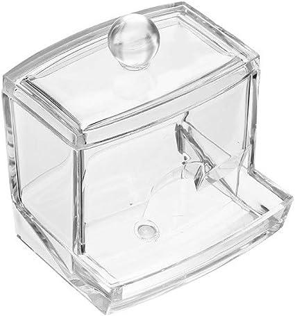 1pc hisopo de almacenamiento Dispensador Claro bola hisopo de algodón Holder algodón Bud almacenamiento caja de cosméticos de maquillaje caja de almacenamiento Organizador de contenedores con tapa: Amazon.es: Belleza