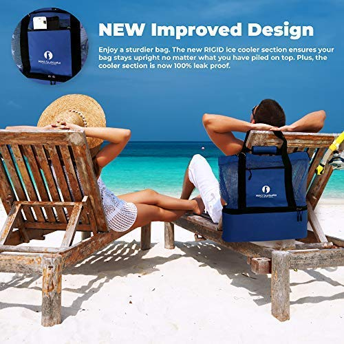 Red Suricata Mesh Beach Bag Cooler - Beach Tote with Leak-proof Rigid Cooler - Beach Bags for Women & Men (Blue)