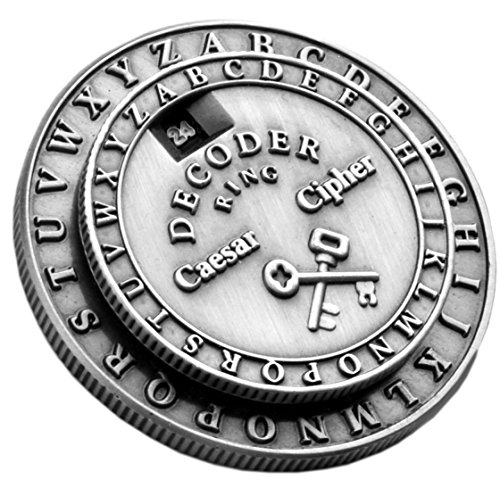 (Retroworks Classic Caesar Cipher Medallion Silver Decoder Ring)