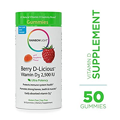 Rainbow Light - Berry D-Licious 2,500 IU Vitamin D3 Gummy - Ultra Potency Vitamin D Supplement Supports Bone and Muscle Strength, Calcium Absorption, and Circulatory Health; Gluten-Free - 50 Count