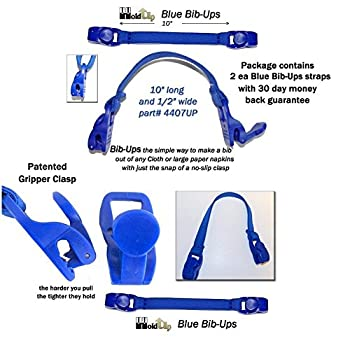 Holdup 10' Long Bib-ups Baby Bib and Burp Pad Straps with Gripper Clasps (Blue)