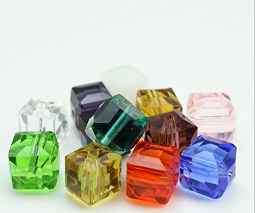 - HYBEADS 100PCS Assorted Austria #5601 6mm Cube Crystal Beads