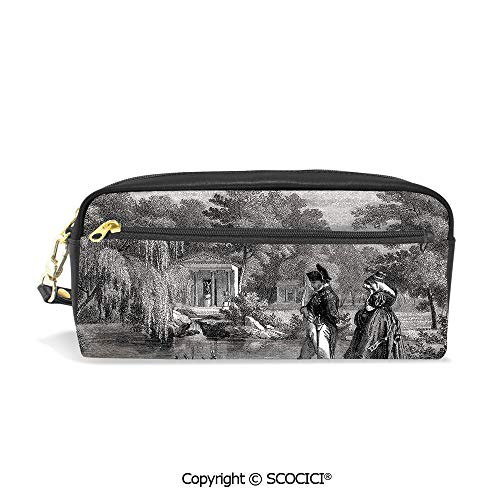 - Printed Pencil Case Large Capacity Pen Bag Makeup Bag Historical French Revolution Sketch with Napoleon and Woman in Garden Artwork for School Office Work College Travel