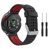 Garmin Forerunner 235 Accessories, MoKo Soft Silicone Replacement Watch Band for Garmin Forerunner 235 / 220 / 230 / 620 / 630 / 735 Smart Watch - BLACK & RED