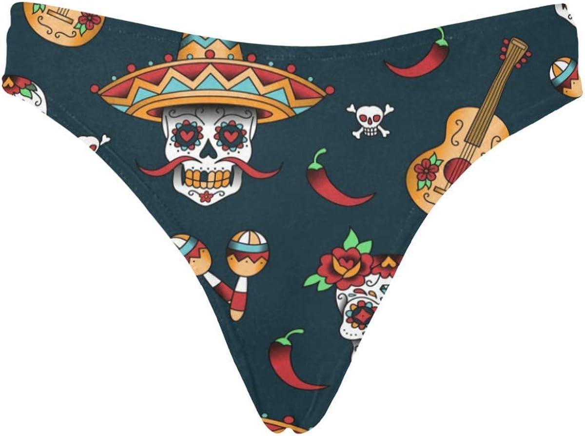 INTERESTPRINT Womens Thong Underwear Skulls Stretchy Panties XS-3XL