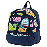 Personalized Kids and Toddlers Navy Blue Whale Backpack