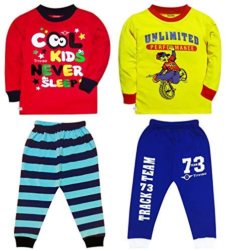 Triviso Kids Night Dress Night wear Night Suit Pajama Set for Boys and Girls 1-8 Year (Pack of 2)