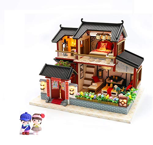 Cool Beans Boutique Miniature DIY Dollhouse Kit - Wooden Asian Dollhouse Traditional Home with 2 Figurines and 1 Dog - with Dust Cover - Architecture Model kit (English Manual)