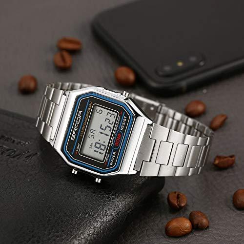 Venda de Acero Resistente al Agua 30M Masculino Reloj de Pulsera Digital Inoxidable para Regalo: Amazon.es: Relojes