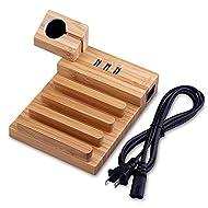 Station de Charge, DYDYLU 3-Ports USB Bambou Multifonction Support Chargeur de Bureau Organisateur des Cables pour iPhone, iPad, Smartphones et Apple Watch