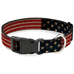 "Buckle Down Plastic Clip Collar - Vintage US Flag Stretch - 1"" Wide - Fits 15-26"" Neck - Large"