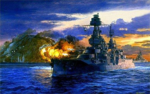 Tomorrow sunny art fleet painting Pacific Lone Star battleship Texas salvo shelling Iwo Jima Pacific 24x36 inch Silk Poster wall decor (Fleet Battleship)