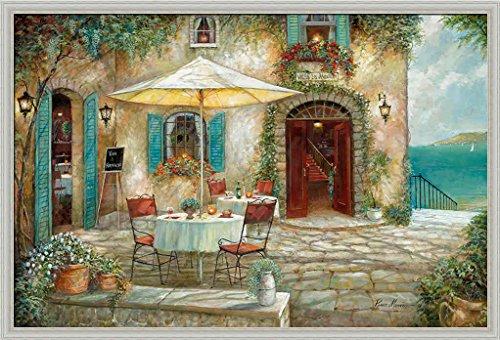 Casa d'Amore Ruane Manning French Bistro Street Scene Framed Art Print Wall (Bistro Framed)