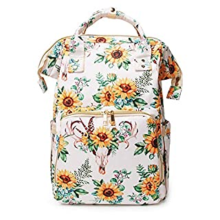 Diaper Bag backpack Multi-Function Mummy Bag with Insulated Water Bottle Sack Waterproof for Baby Care Travel Backpack (bullflower)