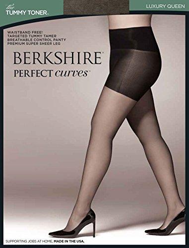 Petite Spandex Pantyhose (Berkshire Women's Plus-SIze Queen Perfect Curves Tummy Toner Pantyhose, Off Black, Queen Petite)