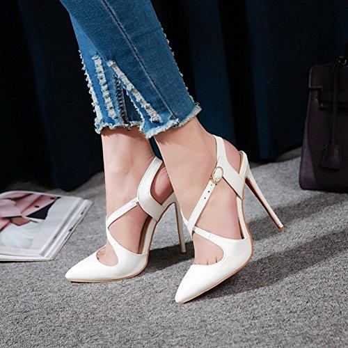 Comfort o Estrecha la Banquete Primavera Color de Novedad Punta para Tacones Heel Negro tama 45 el Zapatos Beige Blanco Verano Boda Ladies y de Blanco Noche Mujer PU Stiletto xq7wHxApX