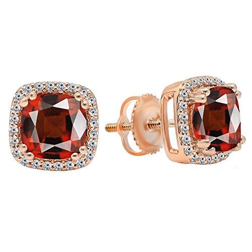 Dazzlingrock Collection 14K Each 6.5 MM Cushion Cut Garnet & Round Cut White Diamond Ladies Stud Earrings, Rose Gold