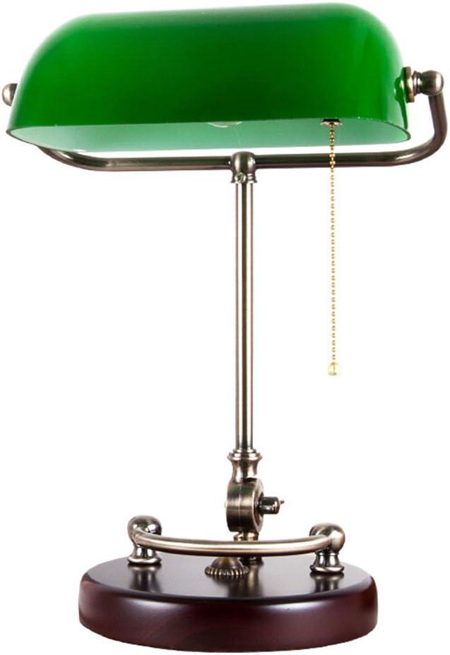 JILAN HOME- Lámpara de mesa de lectura de escritorio tradicional de banquero antiguo con pantalla de vidrio verde y madera sólida E27