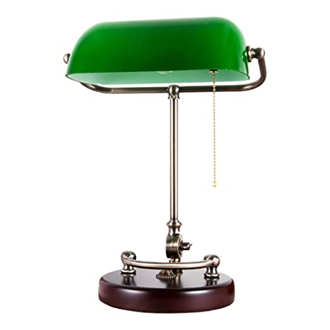 Image Unavailable - LQQGXL Traditional Antique Banker Desk Lamp With Green Glass Curtain
