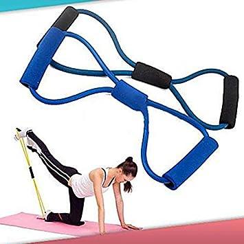 lsv-8 formación cuerda de bandas de resistencia tubo entrenamiento ejercicio para yoga 8 tipo Fashion cuerpo Fitness (color al azar)