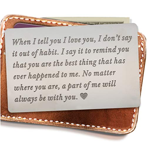 Engraved wallet insert,Stainless steel Wallet Card Insert,Engraved love message,Valentine's Day, Groom's Gift For Him,Boyfriend Gifts (Sentimental Gift For Boyfriend One Year Anniversary)