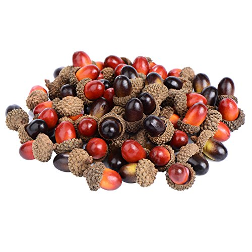 Garland Acorn (Sumind 70 Pieces Craft Acorns Artificial Acorn Decor Fake Fruit Props Acorns Decoration for DIY Home Party Festival, 2 Colors)