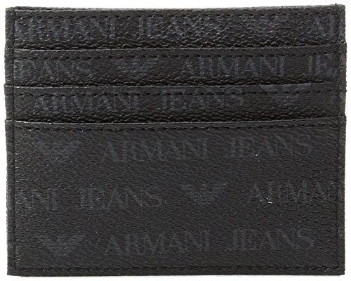 Armani Jeans Men's All Over Logo Pu Credit Card Holder, Black, One - Credit Armani Exchange Card
