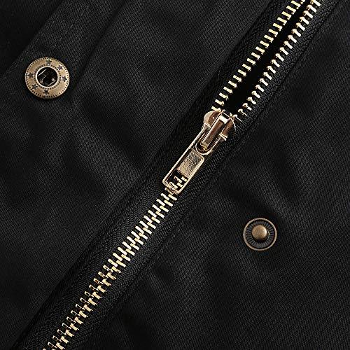 Mode Boutons Hiver Blouson De Capuche Fermeture Serrage Épais Cordon Pression Femme Manteau Décontracté Zip Noir Coup Glissière Avec À vent Veste Randonnée Et Poches Chic BnWd8wqOx8