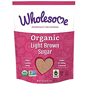 Wholesome Organic Light Brown Sugar, Fair Trade, Non GMO, 1.5 LB, single bag