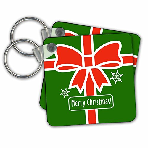 stmas Designs - Merry Christmas- Green Square Design with Red Ribbon and Snowflakes - Key Chains - set of 6 Key Chains (kc_262029_3) (Snowflake Design Key Ring)