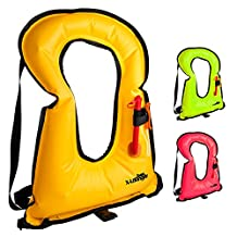 X-Lounger Life Vest Inflatable Snorkel Vest for Life Safety and Make Snorkeling a Breeze Adults Youth Orange