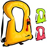 X-Lounger Inflatable Life Jacket Snorkel Vest for Snorkeling Swimming Water Sports Safety, Portable Snorkel Vest for Adults Youth