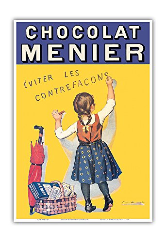 Art Print Chocolate - Pacifica Island Art Chocolat Menier - Éviter Les Contrefaçons (Beware of Imitation) - French Chocolate Company - Vintage Advertising Poster by Firmin Bouisset c.1893 - Master Art Print - 13in x 19in