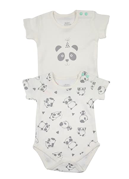 Bebé Niño Niña Ropa Animales Body Set de manga corta Pelele Panda Diseño gris 2er Set