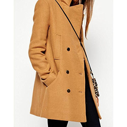 Lingswallow Womens Classic Double Breasted Lapel Wool Long Trench Coat