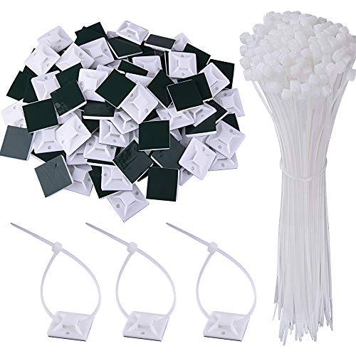 AUSTOR 100 Pack Zip Tie Mount White Adhesive Zip Tie Mounting Base (1.1 x 1.1) with 200 Pack White Nylon Cable Ties(Length 200 mm, Width 3 mm)