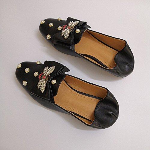 De Calzado Pajarita Pajarita Fondo Planos Perla Zapatos Zapatos Mujer Mujer Zapatos Zapatos Luz Solo Plano Casual De 1 Patadas Zapatos Única Bones Con Color De Baja 3Cm Lazy Sólido Negro GAOLIM Traficando aOAwqd1a