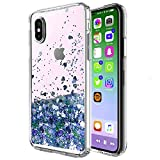 iPhone X Case, iPhone 10 Case, Skmy Liquid Glitter Sparkle Girl Women Cute Clear TPU+Shockproof Hard PC Protective Case for Apple iPhone X smartphone 5.8 inch (Blue)