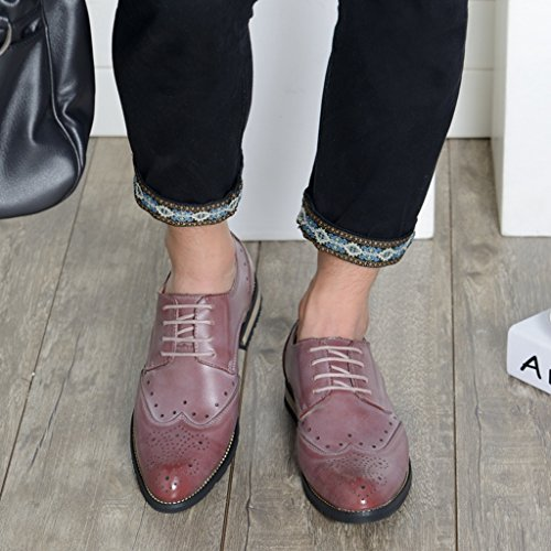 Lace Leather Fashion Shoes Standard TDA Cut Men's Business Oxfords Up Pink Out fCnqqwaOx