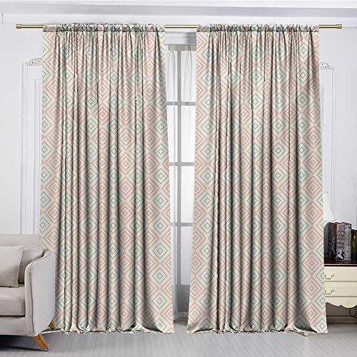 DESPKON-HOME Window Darkening Curtains,Shabby Chic Vintage Style Nested Diamond Line Tile Pattern Shabby Chic Ornament Darkening Darkening Curtains (63W x 72L inch,Peach Coral Pale Blue)