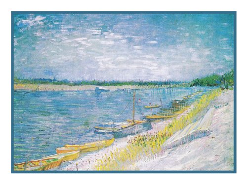 View River Rowing Boats by Vincent Van Gogh Counted Cross Stitch Pa...