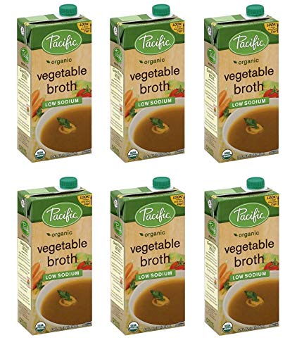 Pacific Broth, Vegetable, Organic, Low Sodium, 32 Oz (Pack of 6)